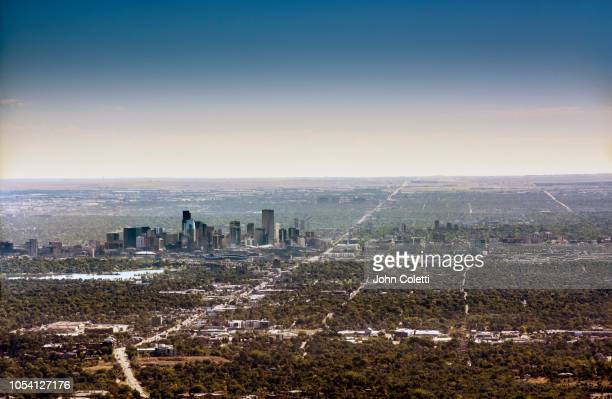 colorado, denver skyline, looking east - denver stock pictures, royalty-free photos & images