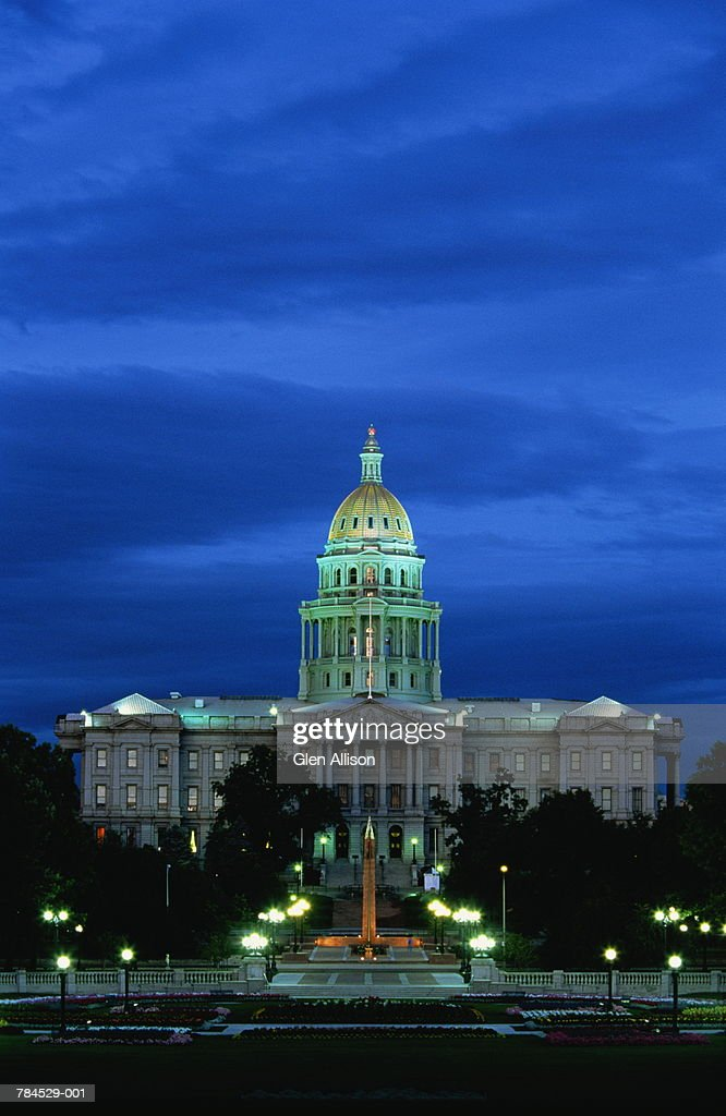 USA, Colorado, Denver, State Capitol building at dusk : Stockfoto
