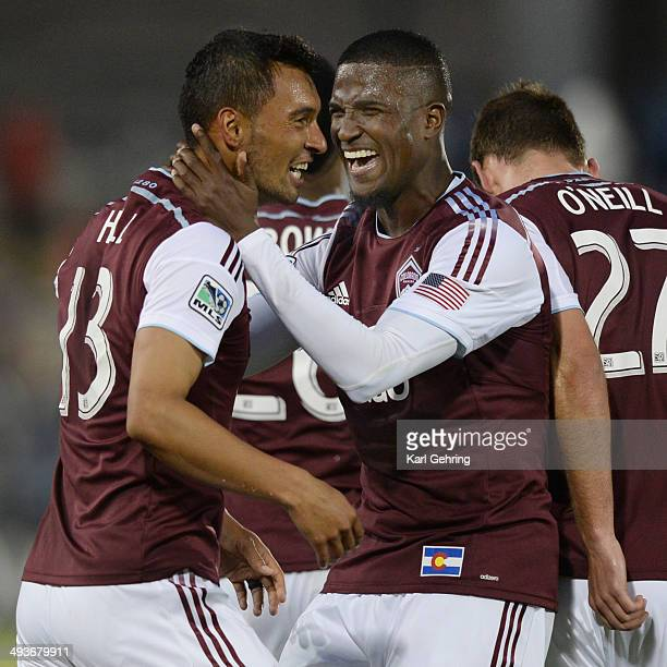 Colorado forward Edson Buddle grabbed Kamani Hill by the neck after his goal in the second half The Colorado Rapids defeated the Montreal Impact 41...