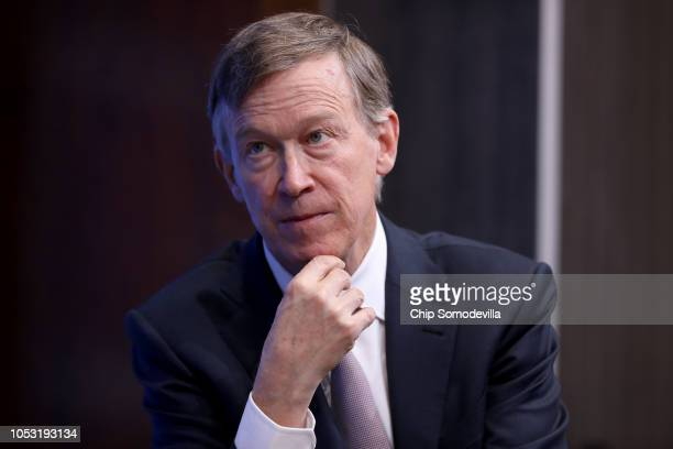 Colorado Gov John Hickenlooper participates in a discussion as part of the Brookings Institution's Middle Class Initiative October 10 2018 in...