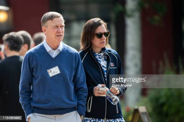 Colorado governor and 2020 presidential candidate John Hickenlooper and his wife Robin Hickenlooper attend the annual Allen Company Sun Valley...