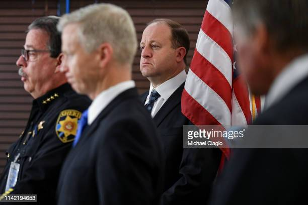 Colorado governor Jared Polis , listens during a press conference regarding the shooting at STEM School Highlands Ranch on May 8, 2019 in Highlands...