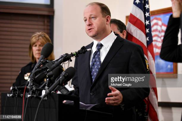 Colorado governor Jared Polis speaks to the media regarding the shooting at STEM School Highlands Ranch during a press conference at the Douglas...