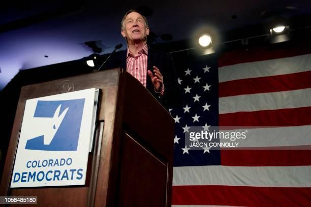 Colorado Governor John Hickenlooper addresses supporters during the Colorado Democrats watch party in Denver Colorado on November 6 2018 Democratic...