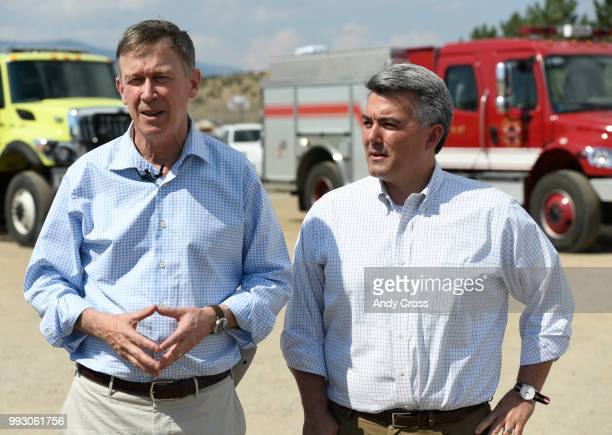 Colorado Governor John Hickenlooper and US Senator Cory Gardner discuss the Spring Fire during a press conference at the Sierra Grande School grounds...