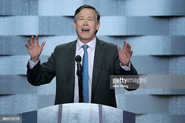 Colorado Governor John Hickenlooper delivers remarks on the fourth day of the Democratic National Convention at the Wells Fargo Center July 28 2016...