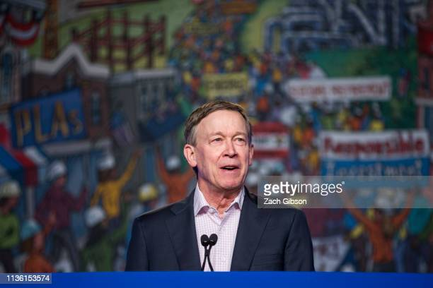 Colorado Governor John Hickenlooper speaks during the North American Building Trades Unions Conference at the Washington Hilton April 10 2019 in...