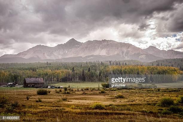 colorado mountain ranch in autumn - mt wilson colorado stock photos and pictures