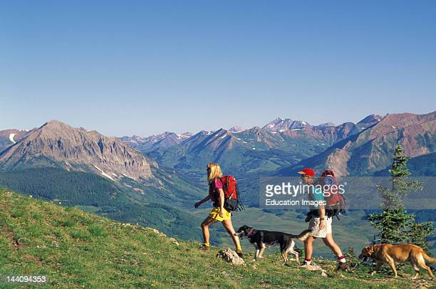 Colorado Mt Crested Butte Couple Hiking With Dogs In The Summer