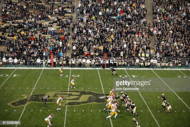 Colorado plays USC during the Colorado Buffalos game versus the USC Trojans on November 11 at Folsom Field in Boulder Co USC won the game 3824