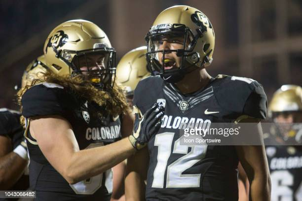 Colorado quarterback Steven Montez celebrates after scoring a touchdown during the Colorado vs UCLA football game on September 28 2018 at Folsom...