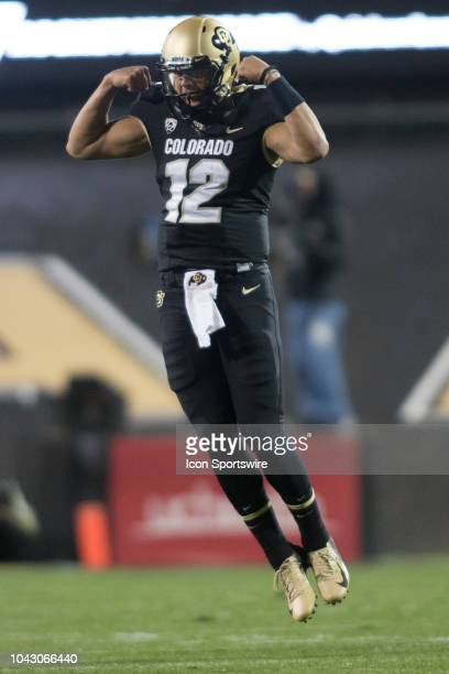 Colorado quarterback Steven Montez celebrates during the Colorado vs UCLA football game on September 28 2018 at Folsom Field in Boulder CO