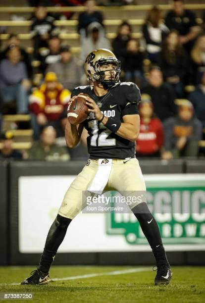 Colorado quarterback Steven Montez drops back to pass against USC during the Colorado Buffalos game versus the USC Trojans on November 11 at Folsom...