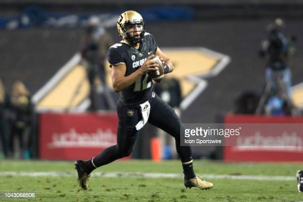 Colorado quarterback Steven Montez scrambles during the Colorado vs UCLA football game on September 28 2018 at Folsom Field in Boulder CO
