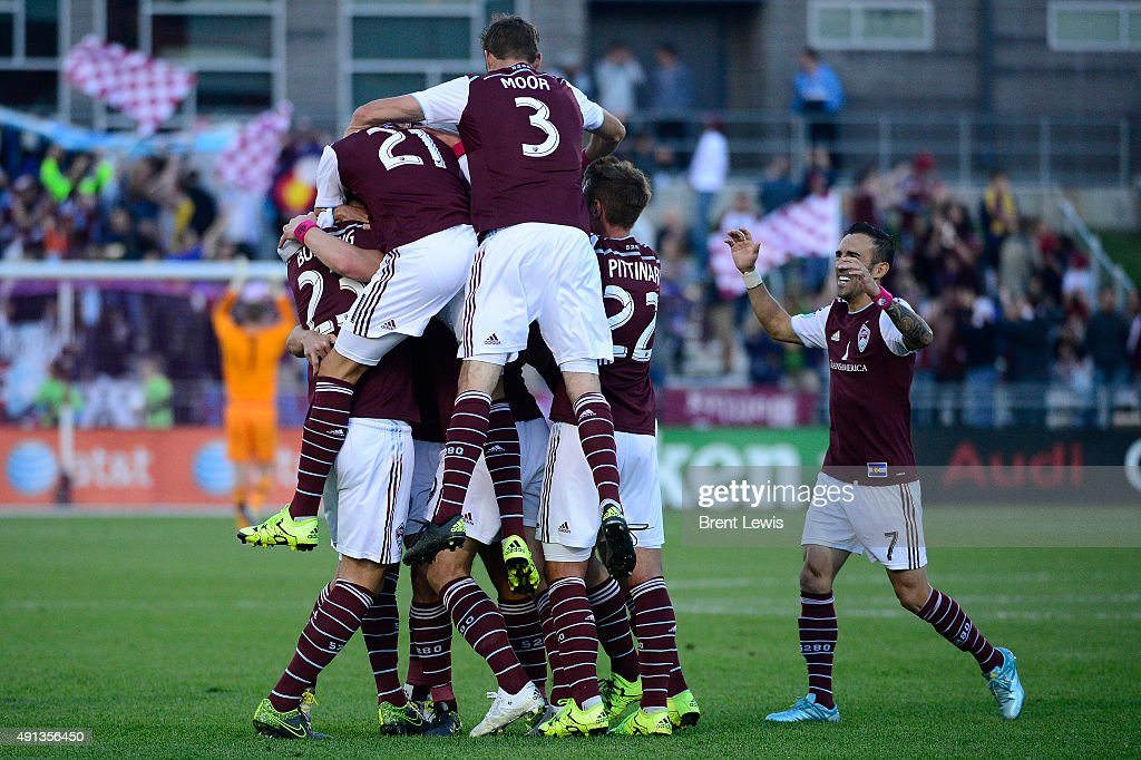 Colorado Rapids celebrate after the goal by Kevin Doyle (9) of Colorado Rapids during the first half October 4, 2015 at Dick's Sporting Goods Park. Colorado Rapids play Real Salt Lake for the Rocky Mountain Cup.