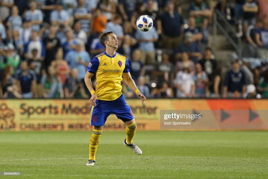 Colorado Rapids defender Danny Wilson (4) prepares to take a high ball in the second half of an MLS match between the Colorado Rapids and Sporting Kansas City on May 5, 2018 at Children's Mercy Park in Kansas City, KS. Sporting KC won 1-0.