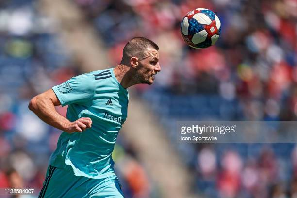 Colorado Rapids defender Tommy Smith heads the ball in game action during a game between the Chicago Fire and the Colorado Rapids on April 20, 2019...