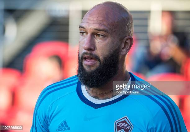 Colorado Rapids goalkeeper Tim Howard before a MLS match between DC United and the Colorado Rapids on July 28 at Audi Field in Washington DC DC...