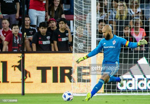 Colorado Rapids goalkeeper Tim Howard boots the ball upfield during a MLS match between DC United and the Colorado Rapids on July 28 at Audi Field in...