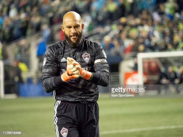 Colorado Rapids goalkeeper Tim Howard reacts after giving up two goals in the first half during the MLS regular season match between Colorado Rapids...