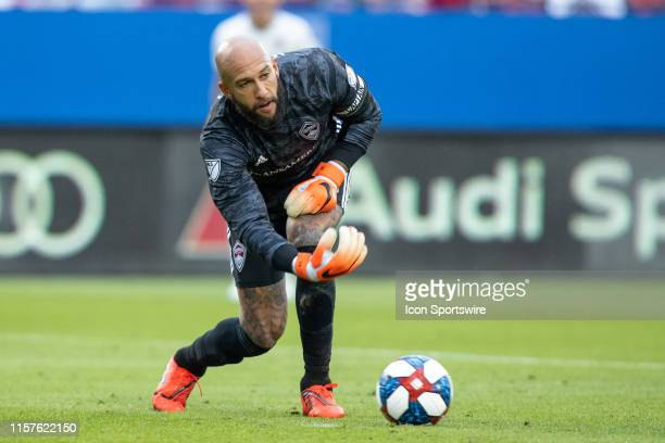 Colorado Rapids goalkeeper Tim Howard rolls the ball out during the MLS soccer game between FC Dallas and Colorado Rapids on March 23 at Toyota...