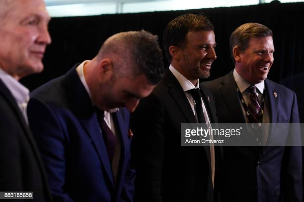 Colorado Rapids new head coach Anthony Hudson jokes with Jim Martin Pádraig Smith and Matt Hutchings as he is introduced to the media on Thursday...