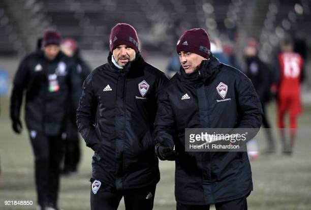 Colorado Rapids new head coach Anthony Hudson middle left walks off the field after his team lost to Toronto FC during the CONCACAF Champions League...