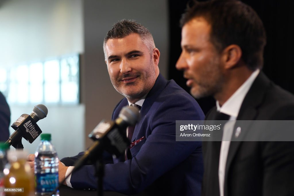 Colorado Rapids new head coach Anthony Hudson (right) speaks as Pádraig Smith (left), team interim general manager and sporting director, listens on Thursday, November 30, 2017. Hudson formerly coached the New Zealand national team.