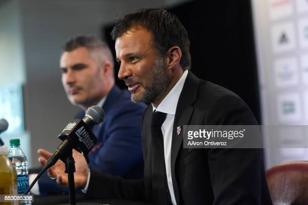 Colorado Rapids new head coach Anthony Hudson speaks as Pádraig Smith team interim general manager and sporting director listens on Thursday November...