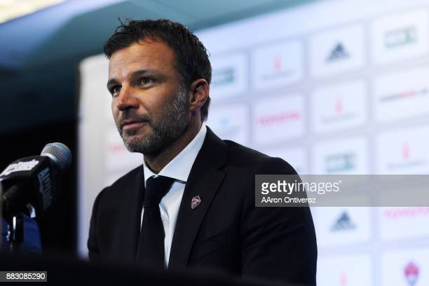 Colorado Rapids new head coach Anthony Hudson speaks to the media as he is introduced on Thursday November 30 2017 Hudson formerly coached the New...
