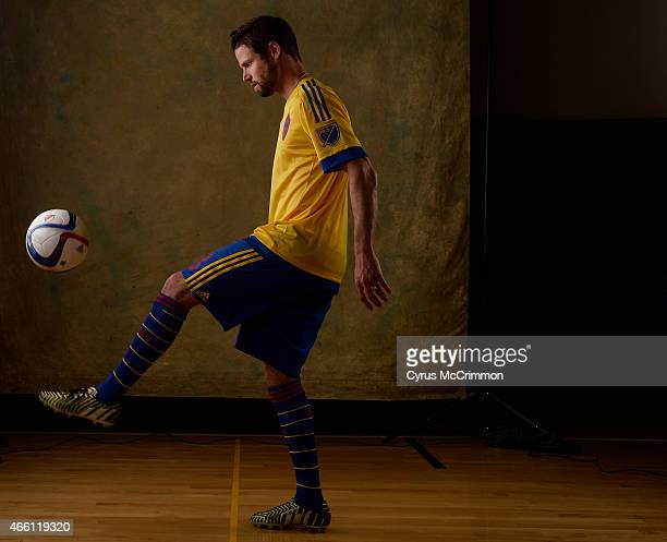 Colorado Rapids player Drew Moor wears a new Rapids uniform while juggling the ball at picture day for the Rapids on Wednesday March 4 2015 at The...