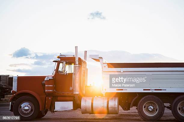 USA, Colorado, Red semi-truck on road