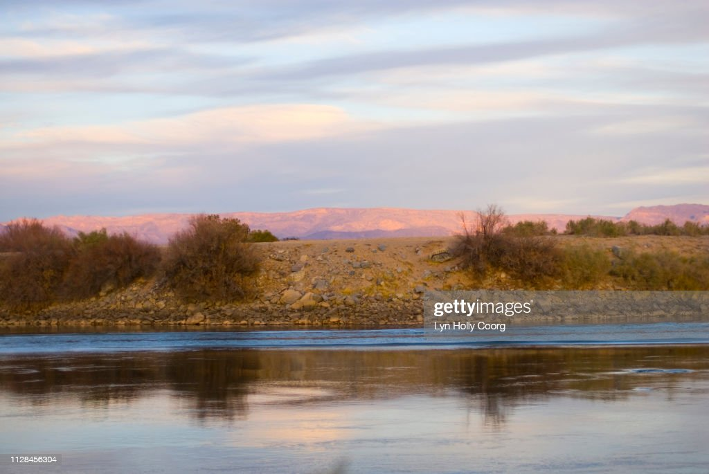 Colorado River and bankside at twilight : Stock Photo