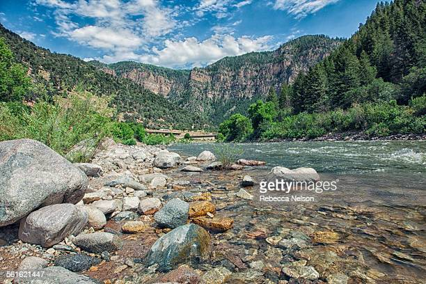 colorado river and rocky mountains - colorado river stock pictures, royalty-free photos & images