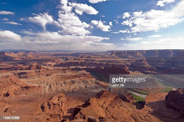 colorado river canyon from dead horse point overlook. - dead horse point state park stock pictures, royalty-free photos & images