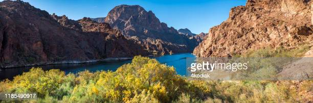 colorado river in autumn color near las vegas, south of hoover dam. - colorado river stock pictures, royalty-free photos & images