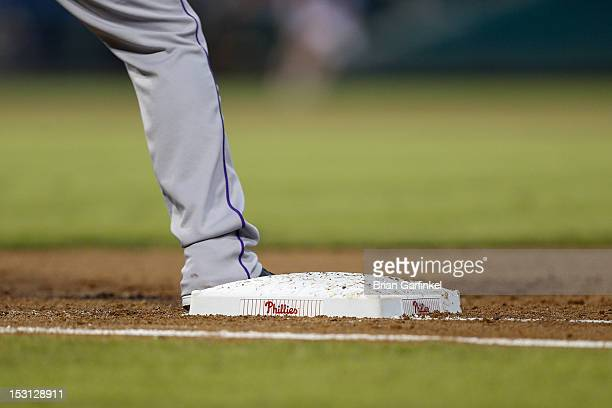 Colorado Rockie has his foot on first base during the game against the Philadelphia Phillies at Citizens Bank Park on September 7 2012 in...