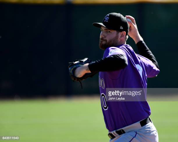 Colorado Rockies Adam Ottavino delivers a pitch during Spring Training practice February 21 2017 at Salt River Fields at Talking Stick
