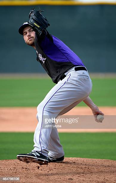 Colorado Rockies Adam Ottavino delivers a pitch during the teams workout on day 8 of spring training February 28 2015 in Scottsdale