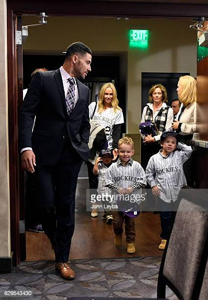 Colorado Rockies agree to a fiveyear contract with infielder/outfielder Ian Desmond as he walks in for the press conference with his family wife...