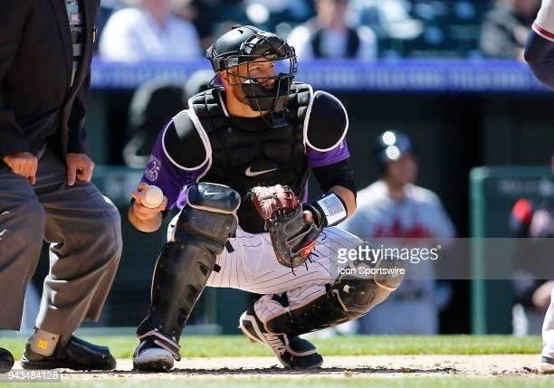 Colorado Rockies catcher Chris Iannetta during a regular season MLB game between the Colorado Rockies and the visiting Atlanta Braves on April 8 2018...