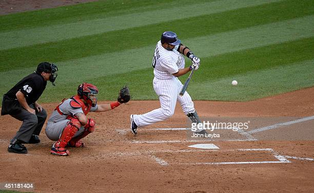 Colorado Rockies catcher Wilin Rosario hits a double to center field in the third inning against the St Louis Cardinals June 24 2014 at Coors Field