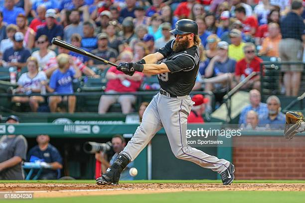 Colorado Rockies Center field Charlie Blackmon [8056] fouls off a pitch during the MLB game between the Colorado Rockies and the Texas Rangers at...