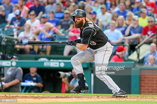 Colorado Rockies Center field Charlie Blackmon [8056] hits a single after a long at bat during the MLB game between the Colorado Rockies and the...