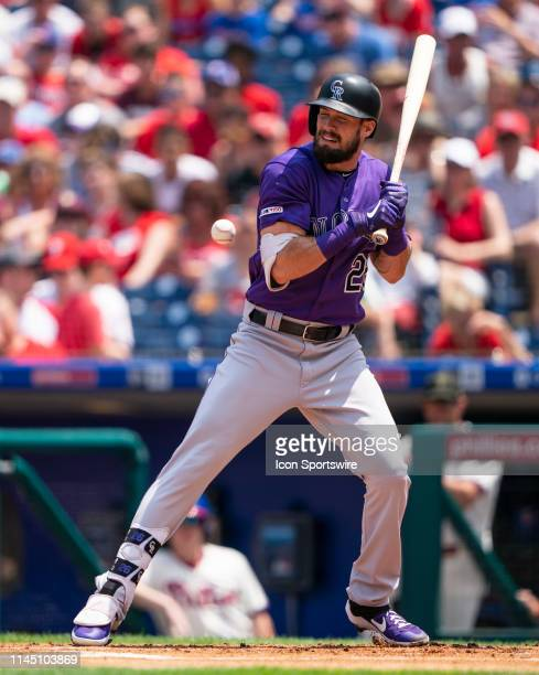 Colorado Rockies Center Fielder David Dahl is hit by a pitch during the first inning of the game between the Colorado Rockies and the Philadelphia...