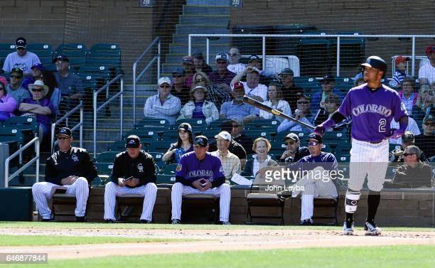 Colorado Rockies coach Ronnie Gideon Colorado Rockies hitting coach Duane Espy Colorado Rockies manager Bud Black and Colorado Rockies bench coach...
