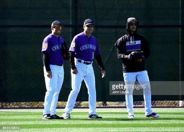 Colorado Rockies first baseman Stephen Cardullo Colorado Rockies manager Bud Black and Colorado Rockies right fielder Carlos Gonzalez watch batting...