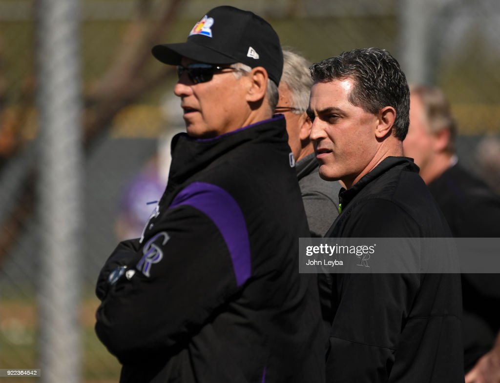 Colorado Rockies Jeff Bridich, Senior Vice President & General Manager and Colorado Rockies manager Bud Black (10) look on during workout on February 21, 2018 at Salt River Fields at Talking Stick in Scottsdale, Arizona.