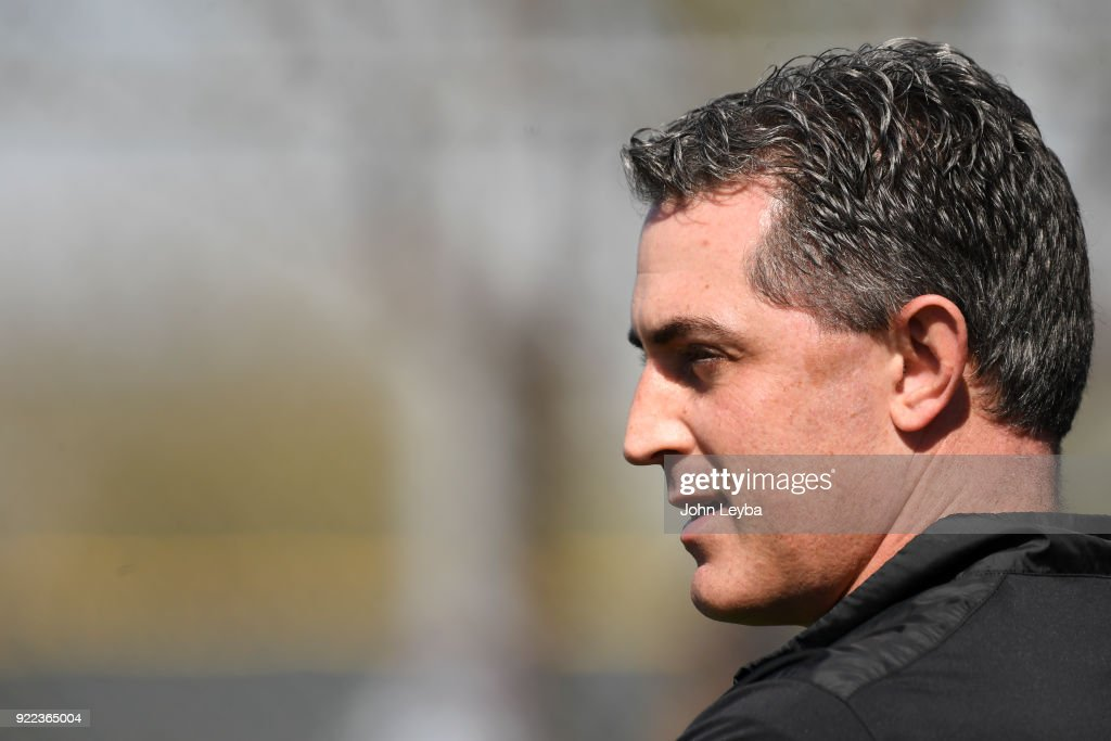 Colorado Rockies Jeff Bridich, Senior Vice President & General Manager looks on during workout on February 21, 2018 at Salt River Fields at Talking Stick in Scottsdale, Arizona.