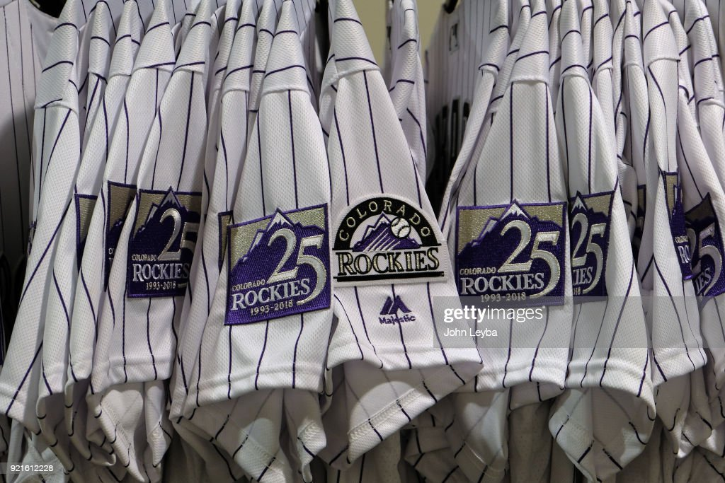 Colorado Rockies jersey in the hallway with the 25th anniversary logo on the sleeve on February 20, 2018 at Salt River Fields at Talking Stick in Scottsdale, Arizona.